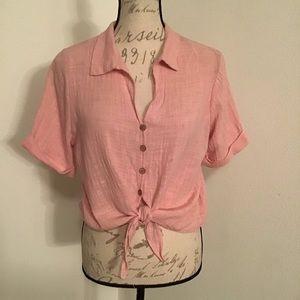100% Cotton Gauzy Tie Font Blouse